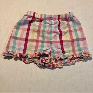 10/$10 18 mo Pink and blue plaid ruffle shorts